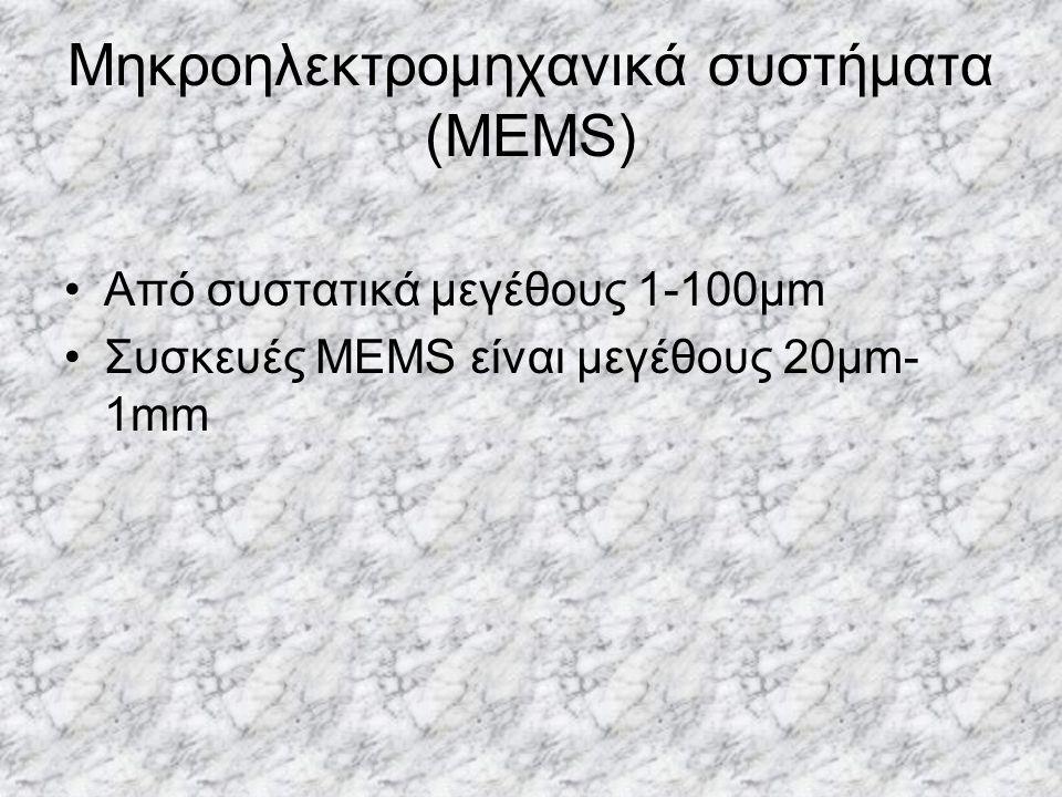 Μηκροηλεκτρομηχανικά συστήματα (MEMS) Από συστατικά μεγέθους 1-100μm Συσκευές MEMS είναι μεγέθους 20μm- 1mm