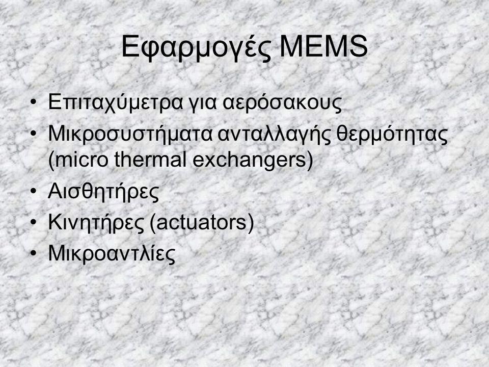 Εφαρμογές MEMS Επιταχύμετρα για αερόσακους Μικροσυστήματα ανταλλαγής θερμότητας (micro thermal exchangers) Αισθητήρες Κινητήρες (actuators) Μικροαντλί