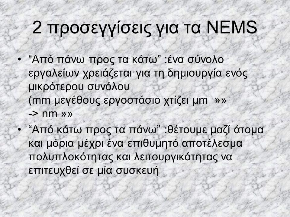 """2 προσεγγίσεις για τα NEMS """"Από πάνω προς τα κάτω"""" :ένα σύνολο εργαλείων χρειάζεται για τη δημιουργία ενός μικρότερου συνόλου (mm μεγέθους εργοστάσιο"""