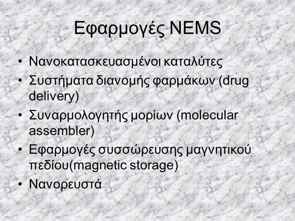 Εφαρμογές NEMS Νανοκατασκευασμένοι καταλύτες Συστήματα διανομής φαρμάκων (drug delivery) Συναρμολογητής μορίων (molecular assembler) Εφαρμογές συσσώρε