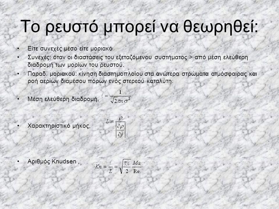 Το ρευστό μπορεί να θεωρηθεί: Είτε συνεχές μέσο είτε μοριακό Συνεχές: όταν οι διαστάσεις του εξεταζόμενου συστήματος > από μέση ελεύθερη διαδρομή των