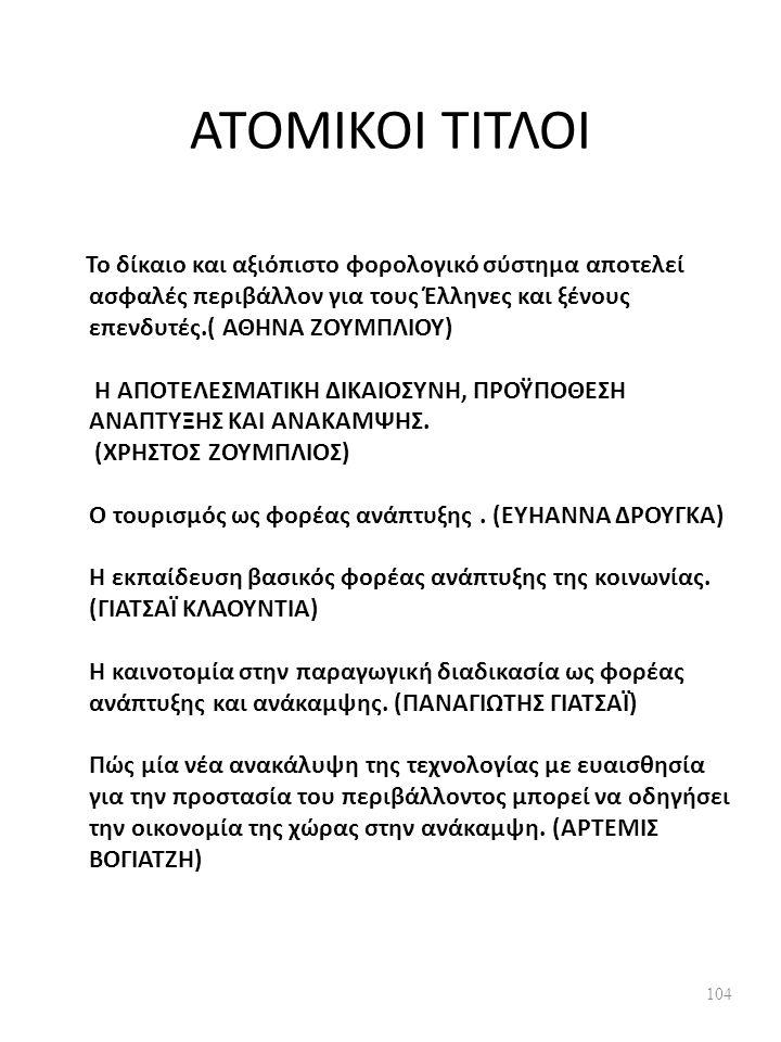 ΑΤΟΜΙΚΟΙ ΤΙΤΛΟΙ Το δίκαιο και αξιόπιστο φορολογικό σύστημα αποτελεί ασφαλές περιβάλλον για τους Έλληνες και ξένους επενδυτές.( ΑΘΗΝΑ ΖΟΥΜΠΛΙΟΥ) Η ΑΠΟΤΕΛΕΣΜΑΤΙΚΗ ΔΙΚΑΙΟΣΥΝΗ, ΠΡΟΫΠΟΘΕΣΗ ΑΝΑΠΤΥΞΗΣ ΚΑΙ ΑΝΑΚΑΜΨΗΣ.