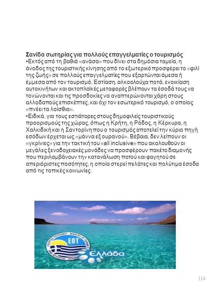 Σανίδα σωτηρίας για πολλούς επαγγελματίες ο τουρισμός Εκτός από τη βαθιά « ανάσα » που δίνει στα δημόσια ταμεία, η άνοδος της τουριστικής κίνησης από το εξωτερικό προσφέρει το « φιλί της ζωής » σε πολλούς επαγγελματίες που εξαρτώνται άμεσα ή έμμεσα από τον τουρισμό.