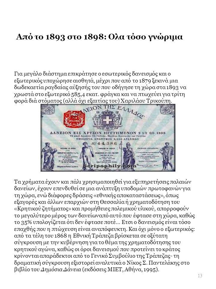 Από το 1893 στο 1898: Ολα τόσο γνώριμα Για μεγάλο διάστημα επικράτησε ο εσωτερικός δανεισμός και ο εξωτερικός υποχώρησε αισθητά, μέχρι που από το 1879 ξεκινά μια δωδεκαετία ραγδαίας αύξησής του που οδήγησε τη χώρα στα 1893 να χρωστά στο εξωτερικό 585,4 εκατ.