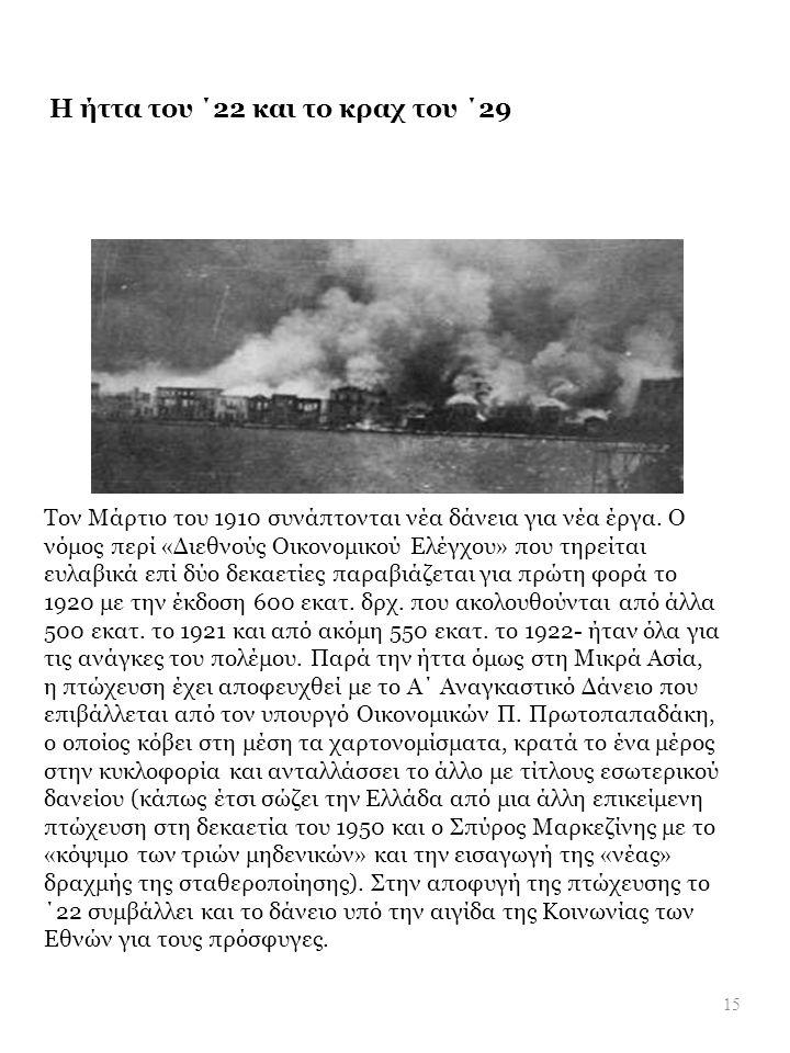 Η ήττα του ΄22 και το κραχ του ΄29 Τον Μάρτιο του 1910 συνάπτονται νέα δάνεια για νέα έργα. Ο νόμος περί « Διεθνούς Οικονομικού Ελέγχου » που τηρείται