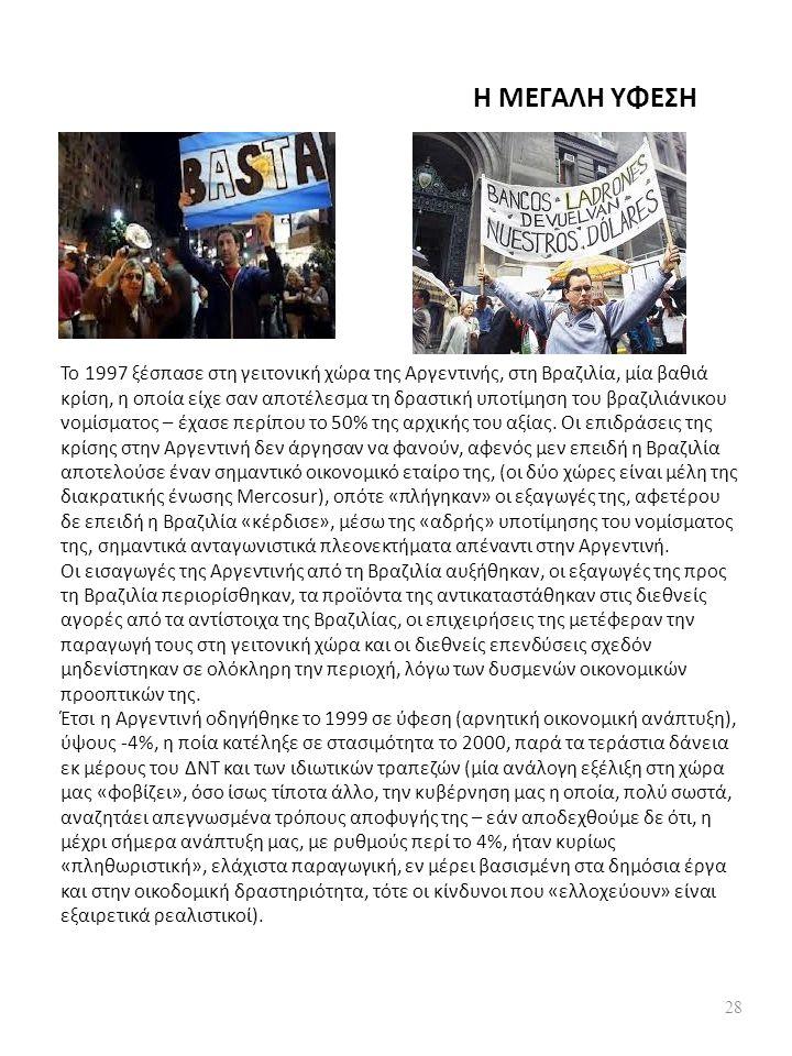 Η ΜΕΓΑΛΗ ΥΦΕΣΗ Το 1997 ξέσπασε στη γειτονική χώρα της Αργεντινής, στη Βραζιλία, μία βαθιά κρίση, η οποία είχε σαν αποτέλεσμα τη δραστική υποτίμηση του βραζιλιάνικου νομίσματος – έχασε περίπου το 50% της αρχικής του αξίας.