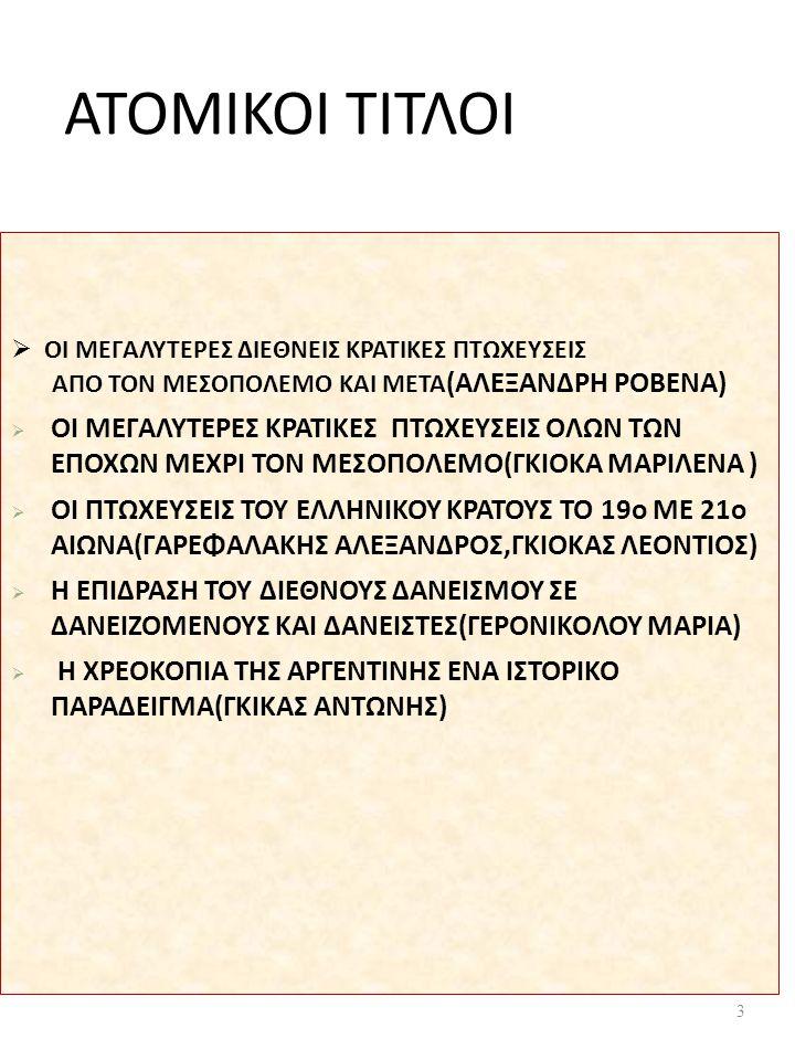 ΑΤΟΜΙΚΟΙ ΤΙΤΛΟΙ  ΟΙ ΜΕΓΑΛΥΤΕΡΕΣ ΔΙΕΘΝΕΙΣ ΚΡΑΤΙΚΕΣ ΠΤΩΧΕΥΣΕΙΣ ΑΠΟ ΤΟΝ ΜΕΣΟΠΟΛΕΜΟ ΚΑΙ ΜΕΤΑ (ΑΛΕΞΑΝΔΡΗ ΡΟΒΕΝΑ)  ΟΙ ΜΕΓΑΛΥΤΕΡΕΣ ΚΡΑΤΙΚΕΣ ΠΤΩΧΕΥΣΕΙΣ ΟΛΩΝ ΤΩΝ ΕΠΟΧΩΝ ΜΕΧΡΙ ΤΟΝ ΜΕΣΟΠΟΛΕΜΟ(ΓΚΙΟΚΑ ΜΑΡΙΛΕΝΑ )  ΟΙ ΠΤΩΧΕΥΣΕΙΣ ΤΟΥ ΕΛΛΗΝΙΚΟΥ ΚΡΑΤΟΥΣ ΤΟ 19o ΜΕ 21o ΑΙΩΝΑ(ΓΑΡΕΦΑΛΑΚΗΣ ΑΛΕΞΑΝΔΡΟΣ,ΓΚΙΟΚΑΣ ΛΕΟΝΤΙΟΣ)  Η ΕΠΙΔΡΑΣΗ ΤΟΥ ΔΙΕΘΝΟΥΣ ΔΑΝΕΙΣΜΟΥ ΣΕ ΔΑΝΕΙΖΟΜΕΝΟΥΣ ΚΑΙ ΔΑΝΕΙΣΤΕΣ(ΓΕΡΟΝΙΚΟΛΟΥ ΜΑΡΙΑ)  Η ΧΡΕΟΚΟΠΙΑ ΤΗΣ ΑΡΓΕΝΤΙΝΗΣ ΕΝΑ ΙΣΤΟΡΙΚΟ ΠΑΡΑΔΕΙΓΜΑ(ΓΚΙΚΑΣ ΑΝΤΩΝΗΣ) 3