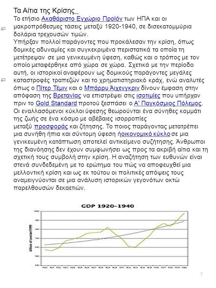7 Τα Αίτια της Κρίσης Το ετήσιο Ακαθάριστο Εγχώριο Προϊόν των ΗΠΑ και οι μακροπρόθεσμες τάσεις μεταξύ 1920-1940, σε δισεκατομμύρια δολάρια τρεχουσών τ