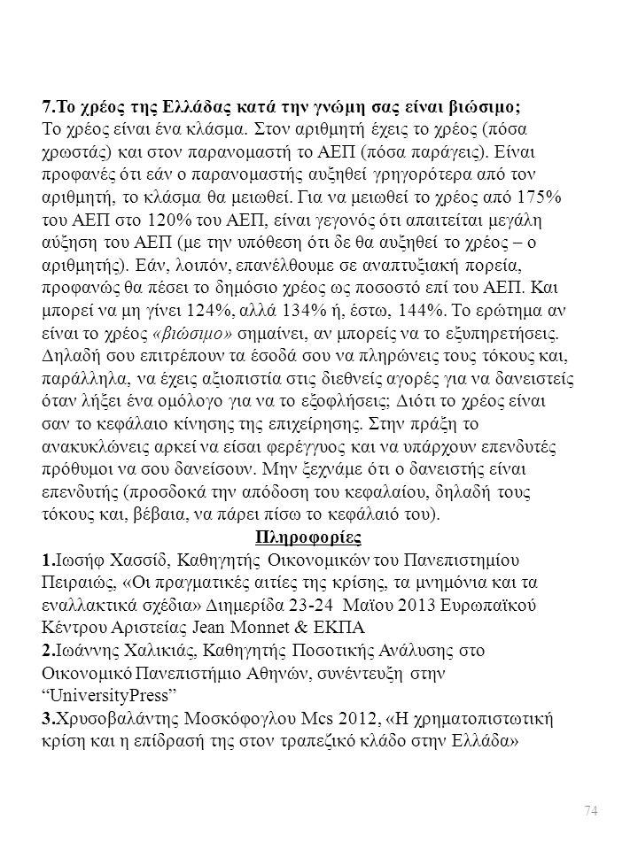 7.Το χρέος της Ελλάδας κατά την γνώμη σας είναι βιώσιμο; Το χρέος είναι ένα κλάσμα. Στον αριθμητή έχεις το χρέος (πόσα χρωστάς) και στον παρανομαστή τ