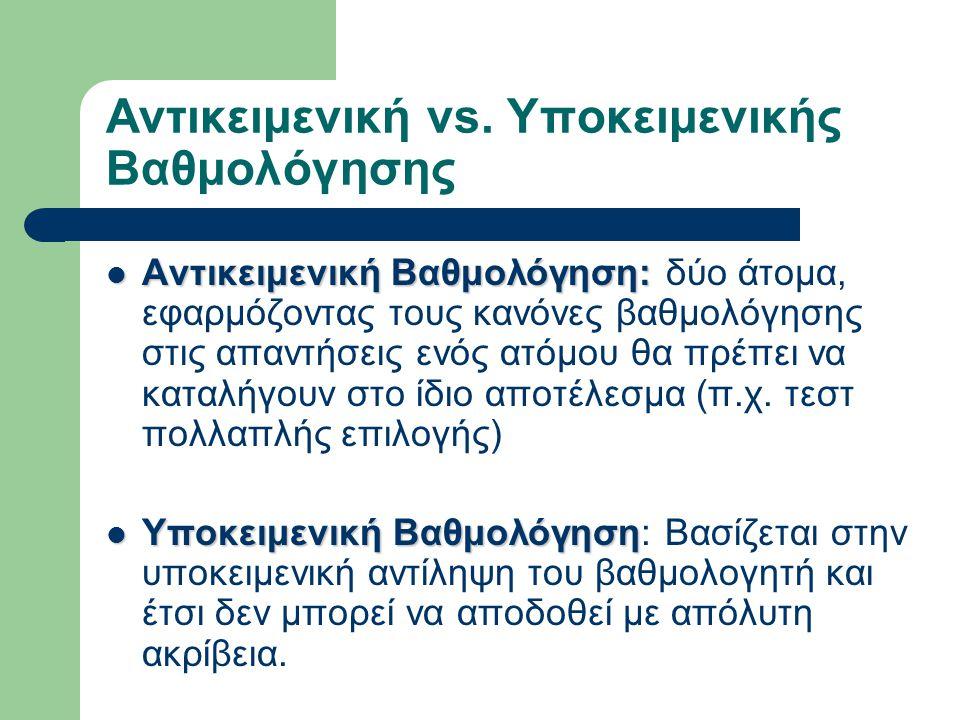 Αντικειμενική vs. Υποκειμενικής Βαθμολόγησης Αντικειμενική Βαθμολόγηση: Αντικειμενική Βαθμολόγηση: δύο άτομα, εφαρμόζοντας τους κανόνες βαθμολόγησης σ