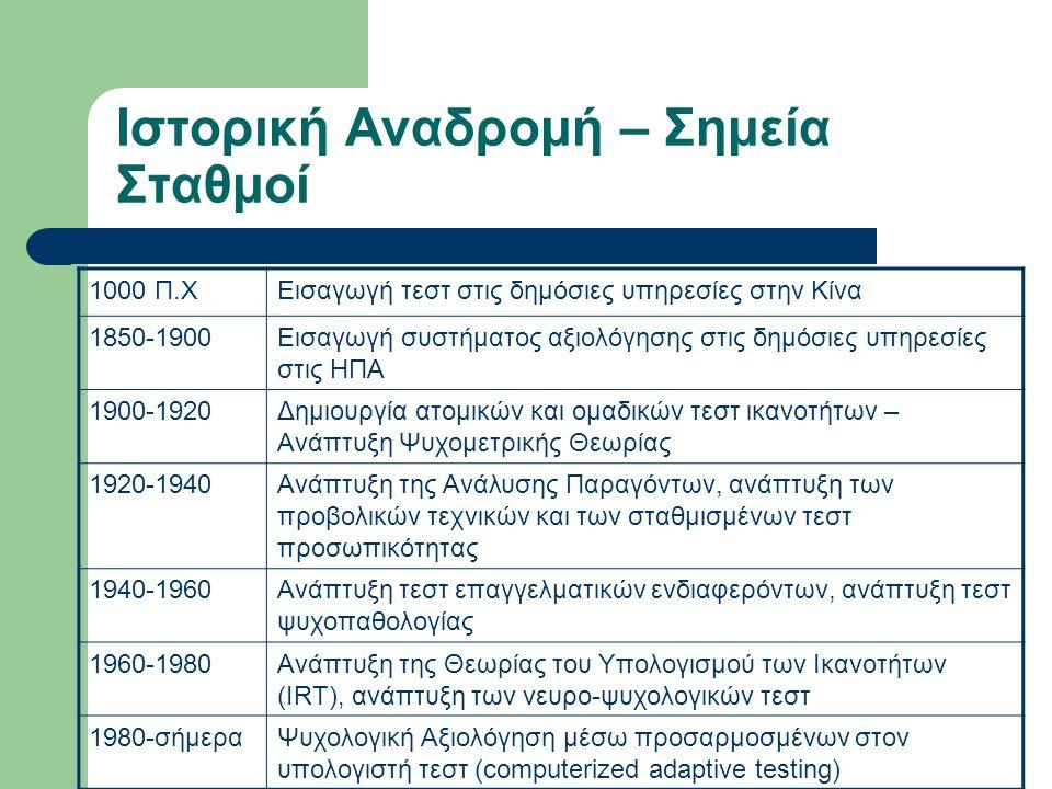 Ιστορική Αναδρομή – Σημεία Σταθμοί 1000 Π.ΧΕισαγωγή τεστ στις δημόσιες υπηρεσίες στην Κίνα 1850-1900Εισαγωγή συστήματος αξιολόγησης στις δημόσιες υπηρ