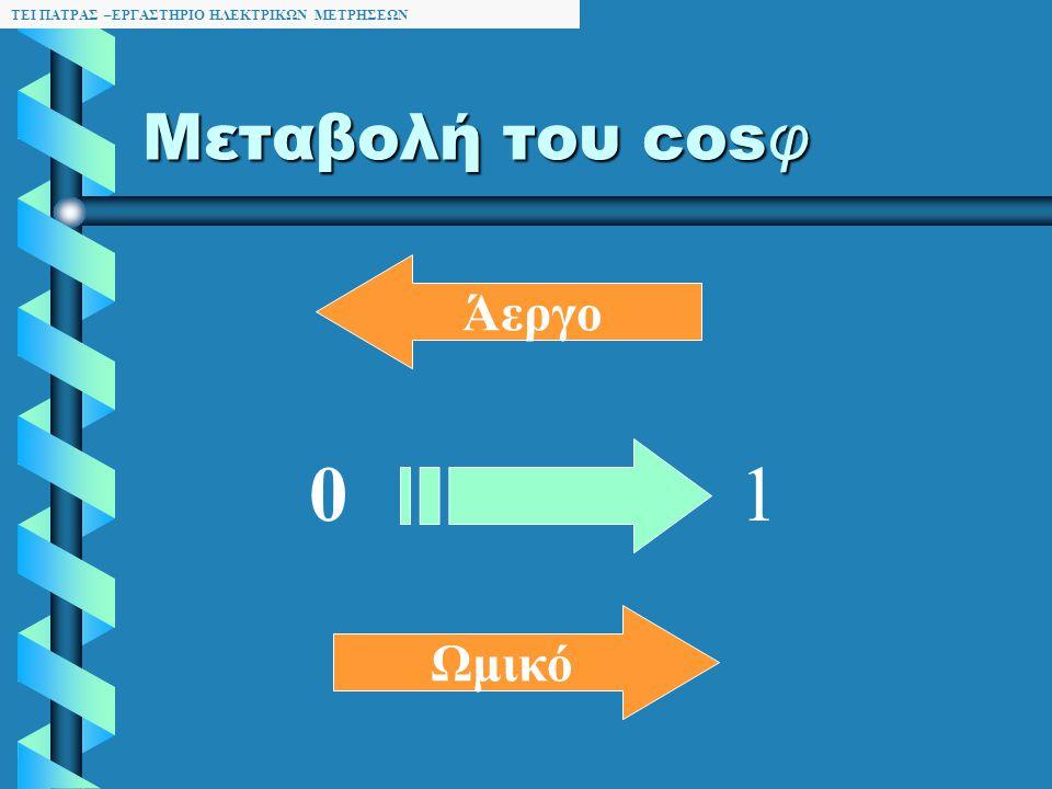 ΤΕΙ ΠΑΤΡΑΣ –ΕΡΓΑΣΤΗΡΙΟ ΗΛΕΚΤΡΙΚΩΝ ΜΕΤΡΗΣΕΩΝ Διόρθωση του cos φ ή Αντιστάθμιση Είναι η διαδικασία μεταβολής του ώστε να πλησιάζει την μονάδα Μειώνεται η άεργη ισχύς (Q) Άρα και το ρεύμα γραμμής Μειώνεται η φαινόμενη ισχύς ( S ) Δεν μεταβάλλεται η πραγματική ισχύς