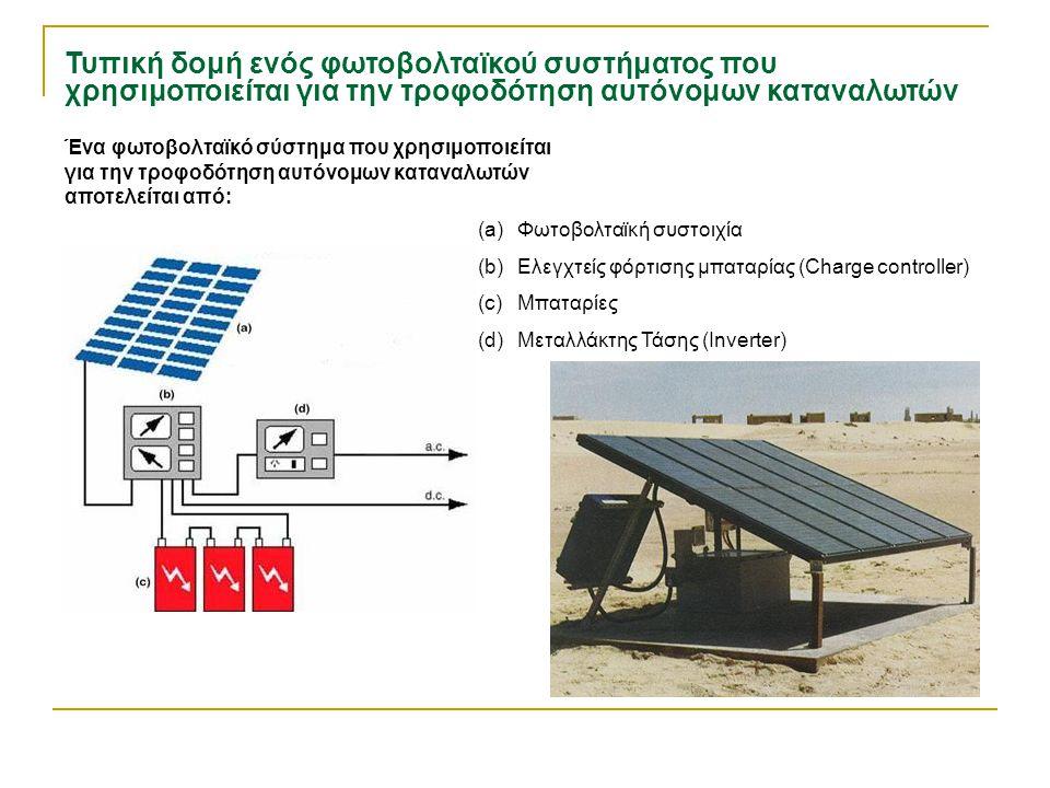 Τυπική δομή ενός φωτοβολταϊκού συστήματος που χρησιμοποιείται για την τροφοδότηση αυτόνομων καταναλωτών Ένα φωτοβολταϊκό σύστημα που χρησιμοποιείται γ