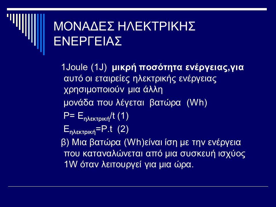 ΜΟΝΑΔΕΣ ΗΛΕΚΤΡΙΚΗΣ ΕΝΕΡΓΕΙΑΣ 1Joule (1J) μικρή ποσότητα ενέργειας,για αυτό οι εταιρείες ηλεκτρικής ενέργειας χρησιμοποιούν μια άλλη μονάδα που λέγεται βατώρα (Wh) P= E ηλεκτρική /t (1) E ηλεκτρική =P.t (2) β) Μια βατώρα (Wh)είναι ίση με την ενέργεια που καταναλώνεται από μια συσκευή ισχύος 1W όταν λειτουργεί για μια ώρα.