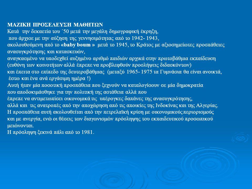 Vη Δημοκρατία 1958 –1981 Αφιξη του De Gaulle Κύμα μεταρρυθμίσεων Η Δημιουργία της Βαθμίδας του Γυμνασίου 1959 Μεταρρύθμιση Berthoin Επιμήκυνση της φοίτησης έως τα 16 χρόνια.