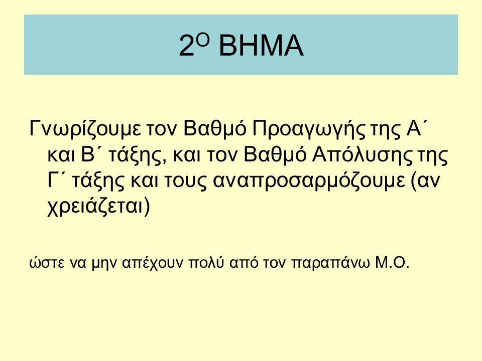 2 Ο ΒΗΜΑ Γνωρίζουμε τον Βαθμό Προαγωγής της Α΄ και Β΄ τάξης, και τον Βαθμό Απόλυσης της Γ΄ τάξης και τους αναπροσαρμόζουμε (αν χρειάζεται) ώστε να μην απέχουν πολύ από τον παραπάνω Μ.Ο.