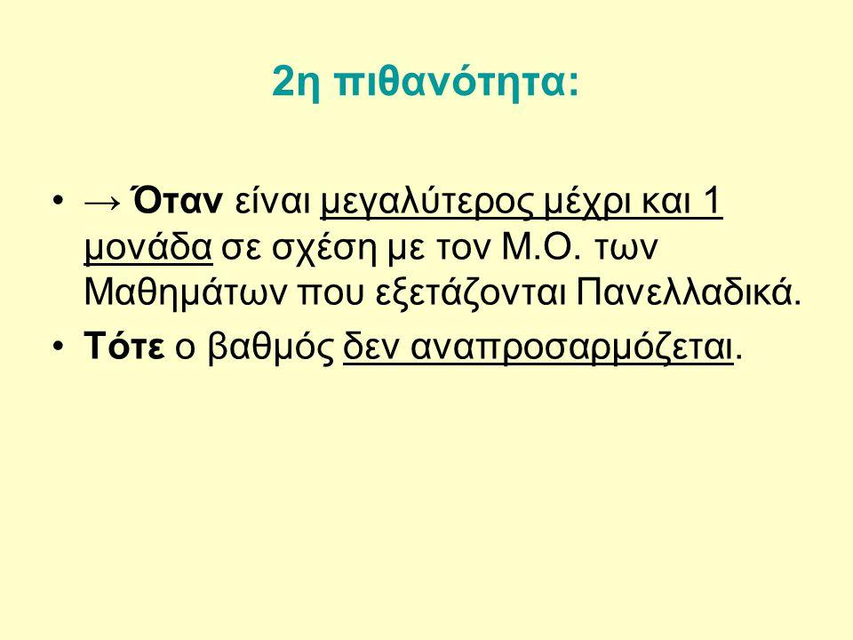 2η πιθανότητα: → Όταν είναι μεγαλύτερος μέχρι και 1 μονάδα σε σχέση με τον Μ.Ο.