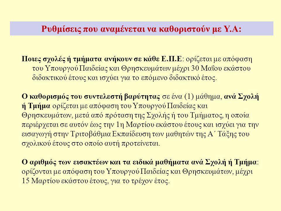 Ποιες σχολές ή τμήματα ανήκουν σε κάθε Ε.Π.Ε: ορίζεται με απόφαση του Υπουργού Παιδείας και Θρησκευμάτων μέχρι 30 Μαΐου εκάστου διδακτικού έτους και ισχύει για το επόμενο διδακτικό έτος.