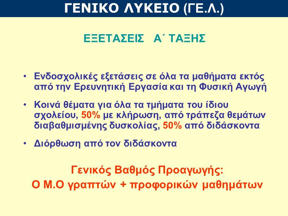 Α΄ ΤΑΞΗ Απαραίτητη προϋπόθεση για την προαγωγή: α) Γενικός Βαθμός τουλάχιστον 10 β) Ελληνική Γλώσσα και Μαθηματικά, σε κάθε διακριτό αντικείμενο τουλάχιστον 10, και στα υπόλοιπα μαθήματα τουλάχιστον 8.