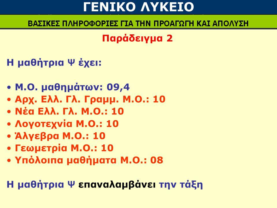 ΓΕΝΙΚΟ ΛΥΚΕΙΟ Παράδειγμα 2 Η μαθήτρια Ψ έχει: Μ.Ο. μαθημάτων: 09,4 Αρχ. Ελλ. Γλ. Γραμμ. Μ.Ο.: 10 Νέα Ελλ. Γλ. Μ.Ο.: 10 Λογοτεχνία Μ.Ο.: 10 Άλγεβρα Μ.Ο