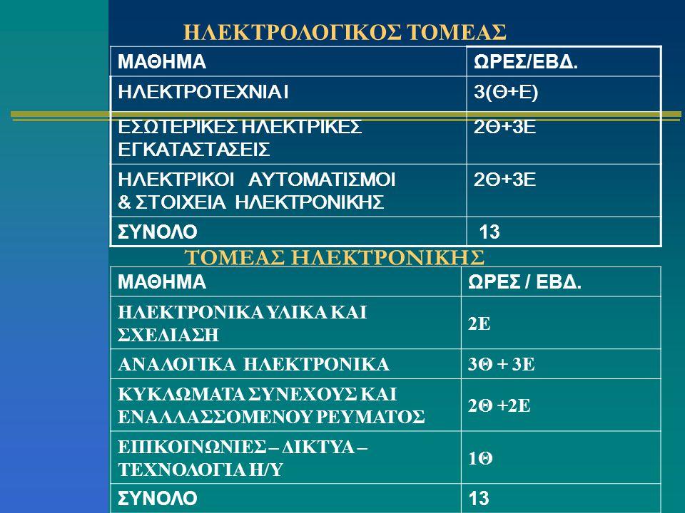 ΗΛΕΚΤΡΟΛΟΓΙΚΟΣ ΤΟΜΕΑΣ ΜΑΘΗΜΑΩΡΕΣ/ΕΒΔ. ΗΛΕΚΤΡΟΤΕΧΝΙΑ Ι3(Θ+Ε) ΕΣΩΤΕΡΙΚΕΣ ΗΛΕΚΤΡΙΚΕΣ ΕΓΚΑΤΑΣΤΑΣΕΙΣ 2Θ+3Ε ΗΛΕΚΤΡΙΚΟΙ ΑΥΤΟΜΑΤΙΣΜΟΙ & ΣΤΟΙΧΕΙΑ ΗΛΕΚΤΡΟΝΙΚΗΣ