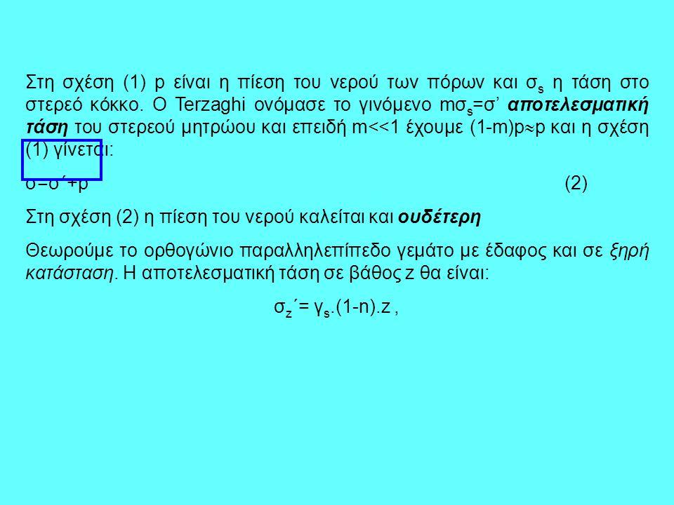 Στη σχέση (1) p είναι η πίεση του νερού των πόρων και σ s η τάση στο στερεό κόκκο. Ο Terzaghi ονόμασε το γινόμενο mσ s =σ' αποτελεσματική τάση του στε