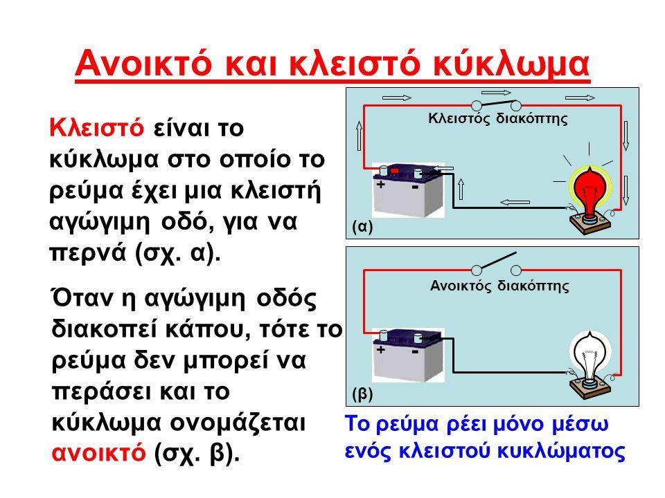 Διακόπτες Μονοπολικός διακόπτης απλής ενέργειας Οστικός διακόπτης Κανονικά ανοικτός (NO) (Normally open ) Μονοπολικός διακόπτης διπλής ενέργειας Οστικός διακόπτης Κανονικά κλειστός (NC) (Normally closed Διπολικός διακόπτης απλής ενέργειας Περιστροφικός διακόπτης 1 2 3 4 5 Οι διακόπτες χρησιμοποιούνται για το κλείσιμο ή το άνοιγμα των κυκλωμάτων.