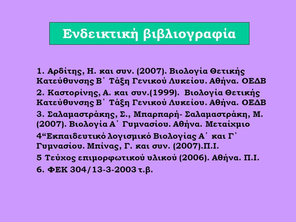 Ενδεικτική βιβλιογραφία 1.Αρδίτης, Η. και συν. (2007).