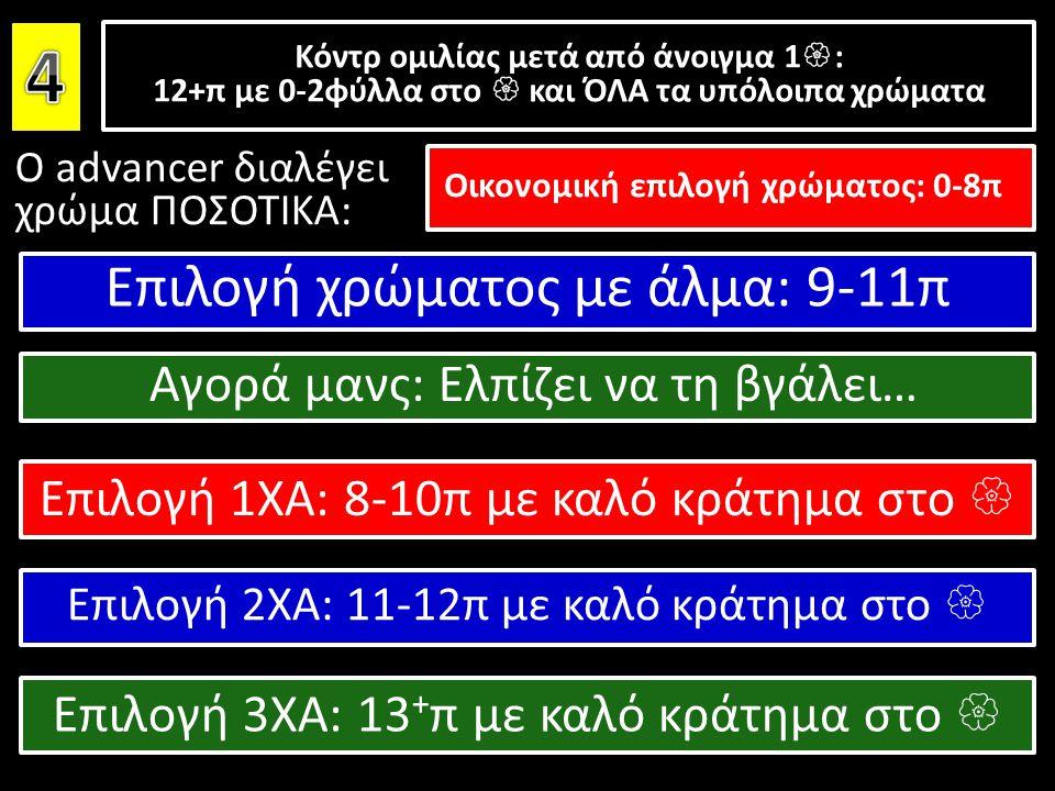 Ο advancer διαλέγει χρώμα ΠΟΣΟΤΙΚΑ: Κόντρ ομιλίας μετά από άνοιγμα 1  : 12+π με 0-2φύλλα στο  και ΌΛΑ τα υπόλοιπα χρώματα Κόντρ ομιλίας μετά από άνο
