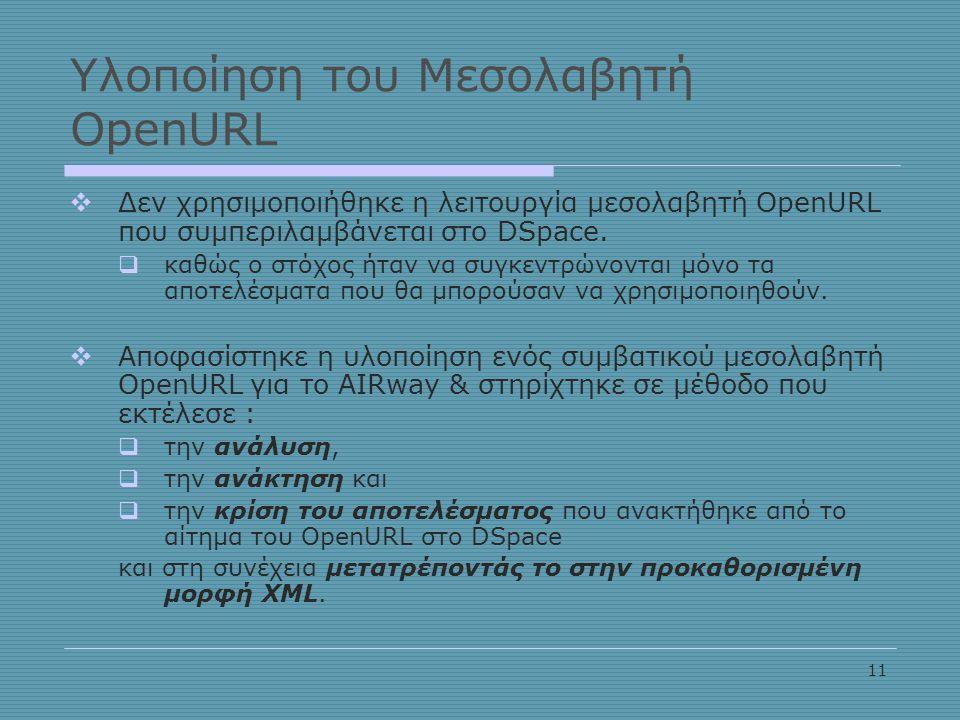 11 Υλοποίηση του Μεσολαβητή OpenURL  Δεν χρησιμοποιήθηκε η λειτουργία μεσολαβητή OpenURL που συμπεριλαμβάνεται στο DSpace.