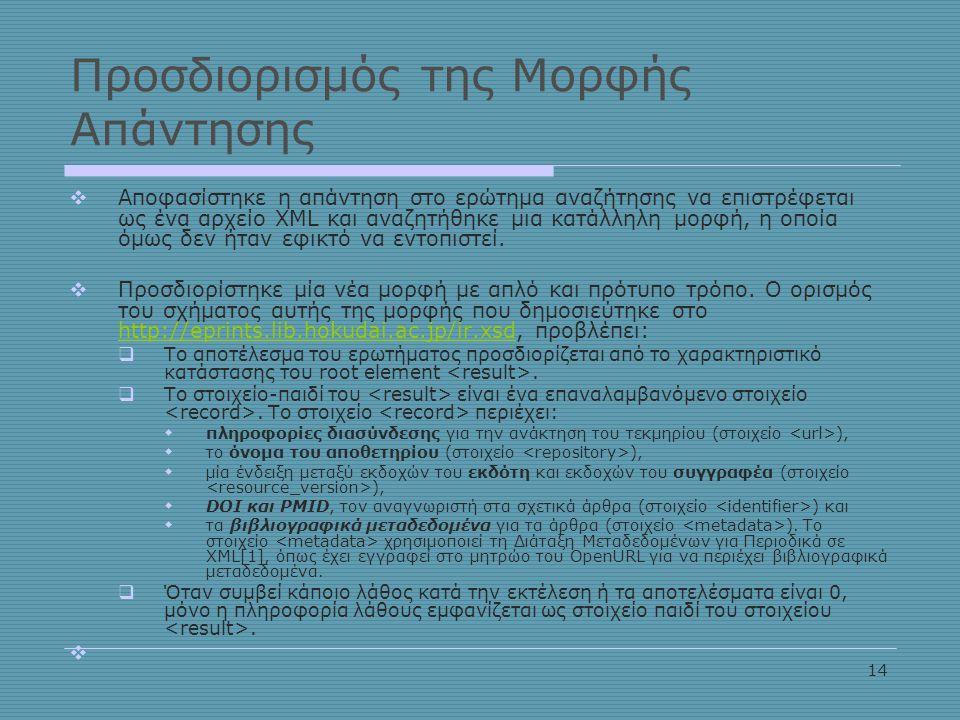 14 Προσδιορισμός της Μορφής Απάντησης  Αποφασίστηκε η απάντηση στο ερώτημα αναζήτησης να επιστρέφεται ως ένα αρχείο XML και αναζητήθηκε μια κατάλληλη μορφή, η οποία όμως δεν ήταν εφικτό να εντοπιστεί.