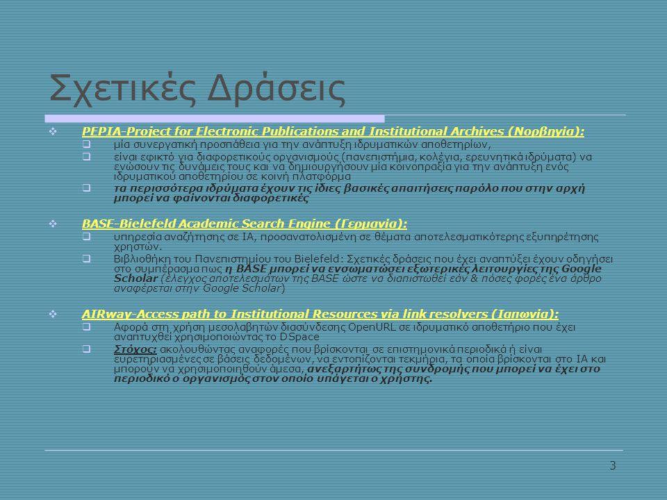 3 Σχετικές Δράσεις  PEPIA-Project for Electronic Publications and Institutional Archives (Νορβηγία):  μία συνεργατική προσπάθεια για την ανάπτυξη ιδρυματικών αποθετηρίων,  είναι εφικτό για διαφορετικούς οργανισμούς (πανεπιστήμια, κολέγια, ερευνητικά ιδρύματα) να ενώσουν τις δυνάμεις τους και να δημιουργήσουν μία κοινοπραξία για την ανάπτυξη ενός ιδρυματικού αποθετηρίου σε κοινή πλατφόρμα  τα περισσότερα ιδρύματα έχουν τις ίδιες βασικές απαιτήσεις παρόλο που στην αρχή μπορεί να φαίνονται διαφορετικές  BASE-Bielefeld Academic Search Engine (Γερμανία):  υπηρεσία αναζήτησης σε ΙΑ, προσανατολισμένη σε θέματα αποτελεσματικότερης εξυπηρέτησης χρηστών.
