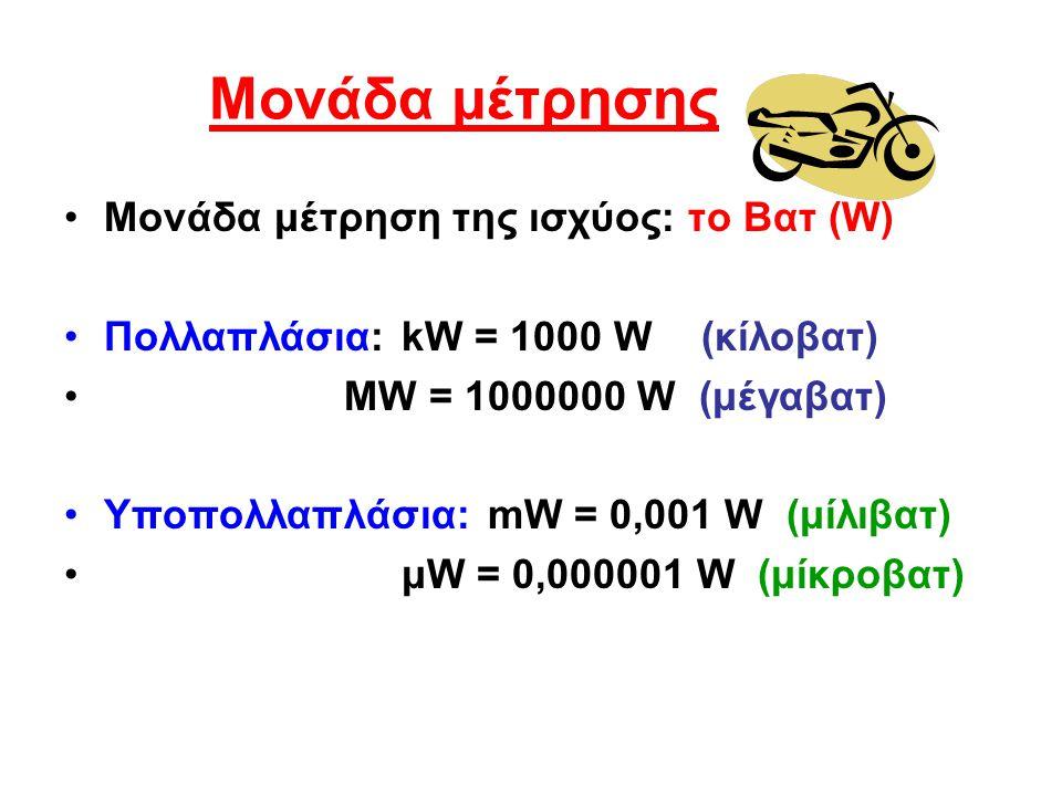 Μονάδα μέτρησης Μονάδα μέτρηση της ισχύος: το Βατ (W) Πολλαπλάσια: kW = 1000 W (κίλοβατ) MW = 1000000 W (μέγαβατ) Υποπολλαπλάσια: mW = 0,001 W (μίλιβα