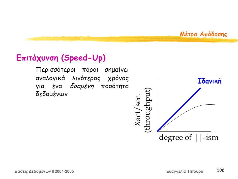 Βάσεις Δεδομένων II 2004-2005 Ευαγγελία Πιτουρά 102 Μέτρα Απόδοσης Επιτάχυνση (Speed-Up) Περισσότεροι πόροι σημαίνει αναλογικά λιγότερος χρόνος για ένα δοσμένη ποσότητα δεδομένων degree of ||-ism Xact/sec.