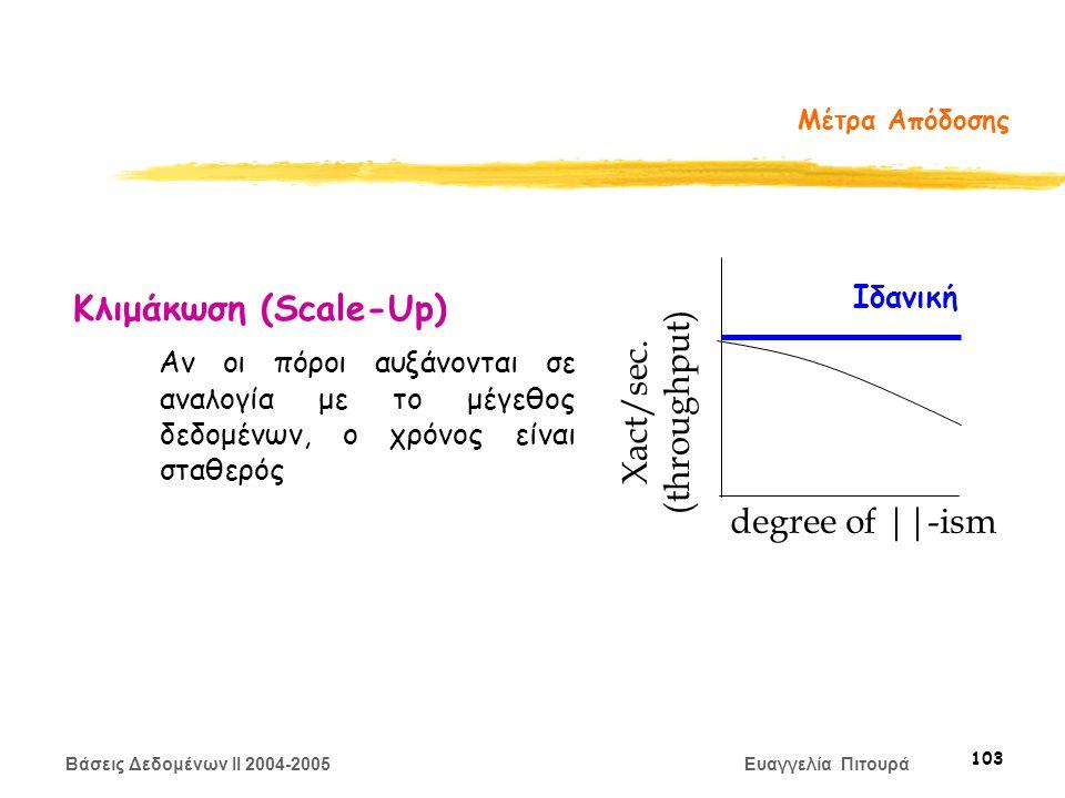 Βάσεις Δεδομένων II 2004-2005 Ευαγγελία Πιτουρά 103 Μέτρα Απόδοσης Κλιμάκωση (Scale-Up) Αν οι πόροι αυξάνονται σε αναλογία με το μέγεθος δεδομένων, ο χρόνος είναι σταθερός degree of ||-ism Ιδανική Xact/sec.