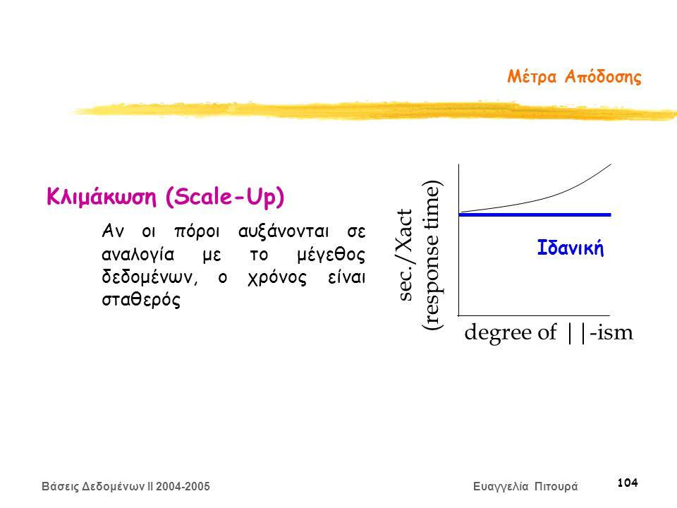 Βάσεις Δεδομένων II 2004-2005 Ευαγγελία Πιτουρά 104 Μέτρα Απόδοσης Κλιμάκωση (Scale-Up) Αν οι πόροι αυξάνονται σε αναλογία με το μέγεθος δεδομένων, ο χρόνος είναι σταθερός degree of ||-ism sec./Xact (response time) Ιδανική