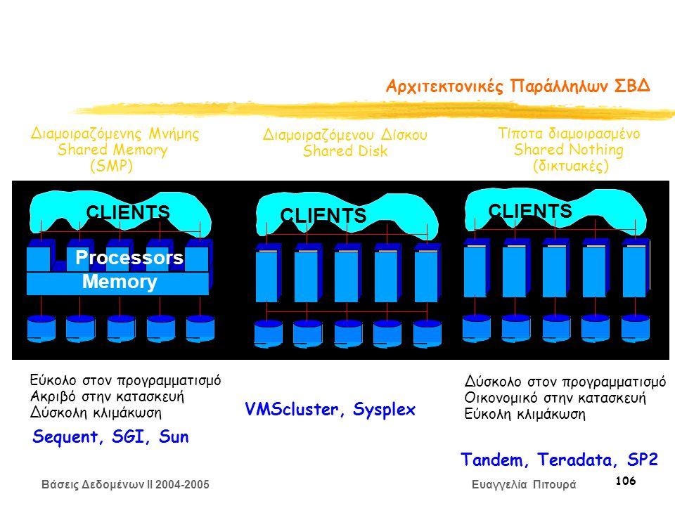 Βάσεις Δεδομένων II 2004-2005 Ευαγγελία Πιτουρά 106 Αρχιτεκτονικές Παράλληλων ΣΒΔ Διαμοιραζόμενης Μνήμης Shared Memory (SMP) Διαμοιραζόμενου Δίσκου Shared Disk Τίποτα διαμοιρασμένο Shared Nothing (δικτυακές) CLIENTS Memory Processors Εύκολο στον προγραμματισμό Ακριβό στην κατασκευή Δύσκολη κλιμάκωση Δύσκολο στον προγραμματισμό Οικονομικό στην κατασκευή Εύκολη κλιμάκωση Sequent, SGI, Sun VMScluster, Sysplex Tandem, Teradata, SP2