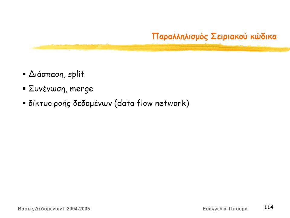 Βάσεις Δεδομένων II 2004-2005 Ευαγγελία Πιτουρά 114 Παραλληλισμός Σειριακού κώδικα  Διάσπαση, split  Συνένωση, merge  δίκτυο ροής δεδομένων (data flow network)