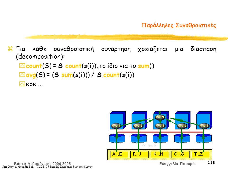 Βάσεις Δεδομένων II 2004-2005 Ευαγγελία Πιτουρά 118 Jim Gray & Gordon Bell: VLDB 95 Parallel Database Systems Survey Παράλληλες Συναθροιστικές zΓια κάθε συναθροιστική συνάρτηση χρειάζεται μια διάσπαση (decomposition): ycount(S) = S count(s(i)), το ίδιο για το sum() yavg(S) = (S sum(s(i))) / S count(s(i)) yκοκ...