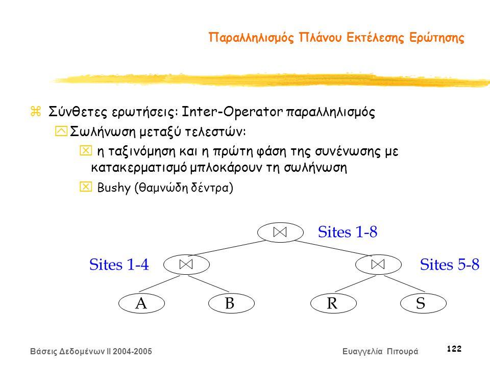 Βάσεις Δεδομένων II 2004-2005 Ευαγγελία Πιτουρά 122 Παραλληλισμός Πλάνου Εκτέλεσης Ερώτησης zΣύνθετες ερωτήσεις: Inter-Operator παραλληλισμός yΣωλήνωση μεταξύ τελεστών: x η ταξινόμηση και η πρώτη φάση της συνένωσης με κατακερματισμό μπλοκάρουν τη σωλήνωση x Bushy (θαμνώδη δέντρα) A BRS Sites 1-4Sites 5-8 Sites 1-8