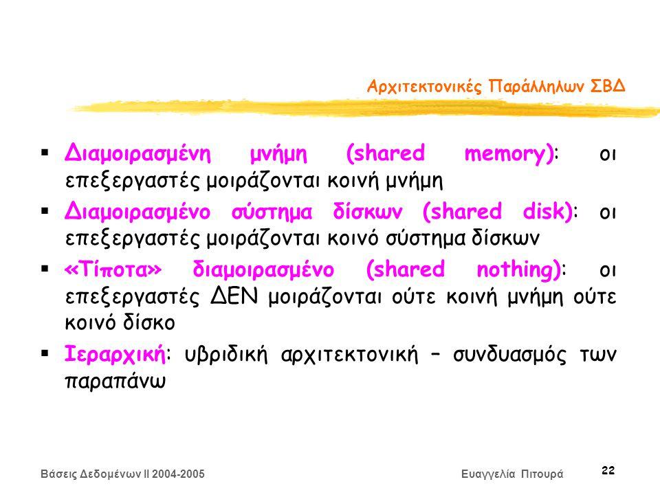 Βάσεις Δεδομένων II 2004-2005 Ευαγγελία Πιτουρά 22 Αρχιτεκτονικές Παράλληλων ΣΒΔ  Διαμοιρασμένη μνήμη (shared memory): οι επεξεργαστές μοιράζονται κοινή μνήμη  Διαμοιρασμένο σύστημα δίσκων (shared disk): οι επεξεργαστές μοιράζονται κοινό σύστημα δίσκων  «Τίποτα» διαμοιρασμένο (shared nothing): οι επεξεργαστές ΔΕΝ μοιράζονται ούτε κοινή μνήμη ούτε κοινό δίσκο  Ιεραρχική: υβριδική αρχιτεκτονική – συνδυασμός των παραπάνω