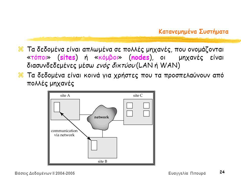 Βάσεις Δεδομένων II 2004-2005 Ευαγγελία Πιτουρά 24 Κατανεμημένα Συστήματα zΤα δεδομένα είναι απλωμένα σε πολλές μηχανές, που ονομάζονται «τόποι» (sites) ή «κόμβοι» (nodes), οι μηχανές είναι διασυνδεδεμένες μέσω ενός δικτύου (LAN ή WAN) zΤα δεδομένα είναι κοινά για χρήστες που τα προσπελαύνουν από πολλές μηχανές