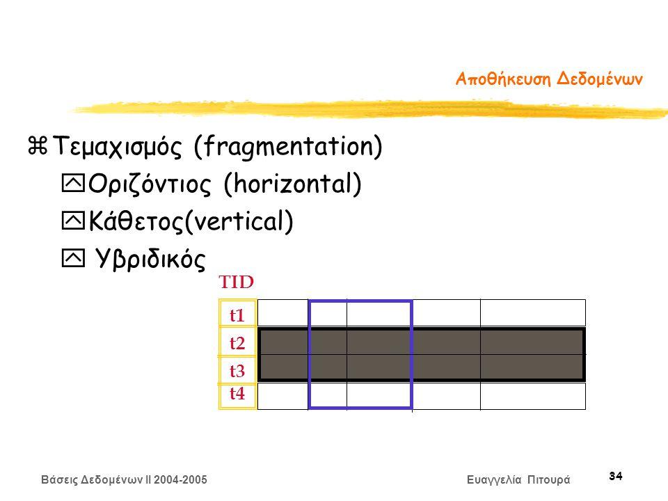 Βάσεις Δεδομένων II 2004-2005 Ευαγγελία Πιτουρά 34 Αποθήκευση Δεδομένων zΤεμαχισμός (fragmentation) yΟριζόντιος (horizontal) yΚάθετος(vertical) y Υβριδικός TID t1 t2 t3 t4