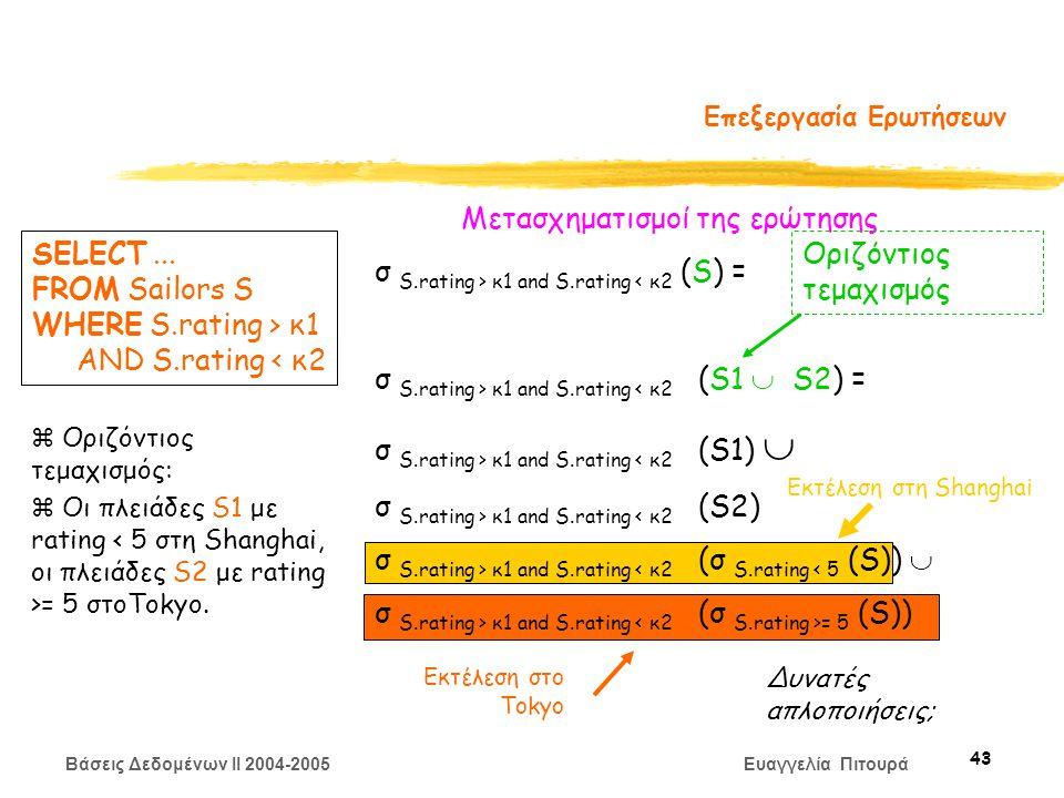 Βάσεις Δεδομένων II 2004-2005 Ευαγγελία Πιτουρά 43 Επεξεργασία Ερωτήσεων Μετασχηματισμoί της ερώτησης σ S.rating > κ1 and S.rating < κ2 (S) = σ S.rating > κ1 and S.rating < κ2 (S1  S2) = σ S.rating > κ1 and S.rating < κ2 (S1)  σ S.rating > κ1 and S.rating < κ2 (S2) σ S.rating > κ1 and S.rating < κ2 (σ S.rating < 5 (S))  σ S.rating > κ1 and S.rating = 5 (S)) SELECT...