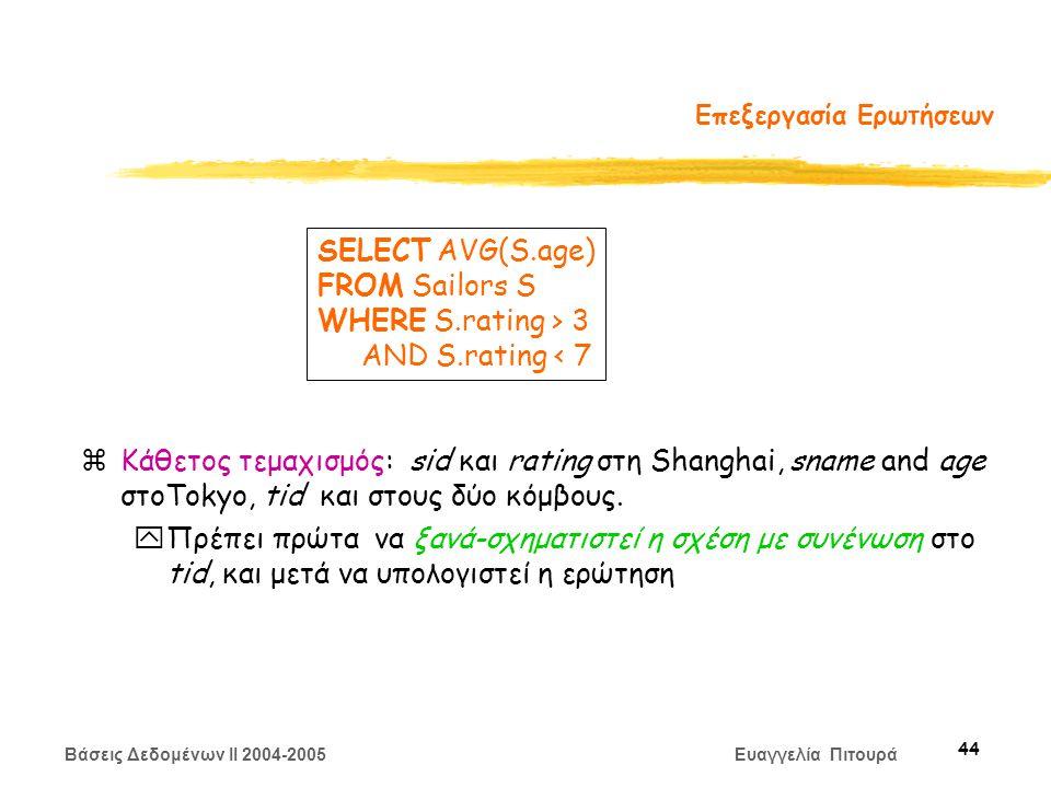 Βάσεις Δεδομένων II 2004-2005 Ευαγγελία Πιτουρά 44 Επεξεργασία Ερωτήσεων zΚάθετος τεμαχισμός: sid και rating στη Shanghai, sname and age στοTokyo, tid και στους δύο κόμβους.