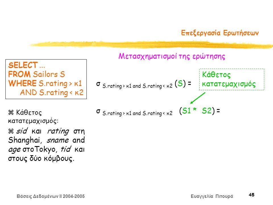 Βάσεις Δεδομένων II 2004-2005 Ευαγγελία Πιτουρά 45 Επεξεργασία Ερωτήσεων Μετασχηματισμoί της ερώτησης σ S.rating > κ1 and S.rating < κ2 (S) = σ S.rating > κ1 and S.rating < κ2 (S1 * S2) = SELECT...