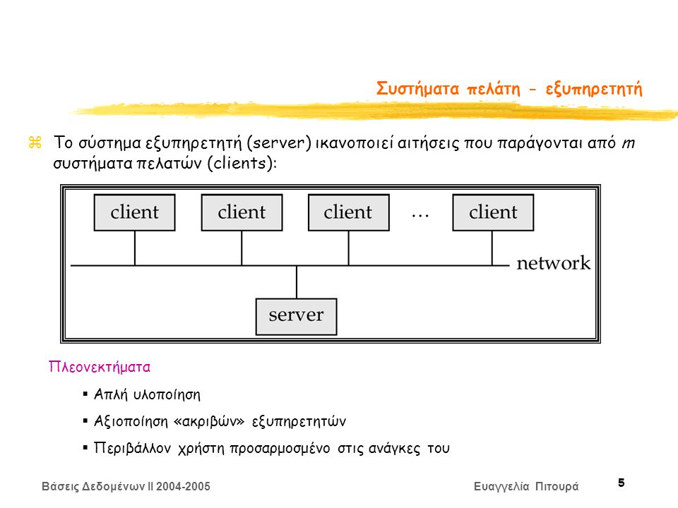 Βάσεις Δεδομένων II 2004-2005 Ευαγγελία Πιτουρά 5 Συστήματα πελάτη - εξυπηρετητή zΤο σύστημα εξυπηρετητή (server) ικανοποιεί αιτήσεις που παράγονται από m συστήματα πελατών (clients): Πλεονεκτήματα  Απλή υλοποίηση  Αξιοποίηση «ακριβών» εξυπηρετητών  Περιβάλλον χρήστη προσαρμοσμένο στις ανάγκες του