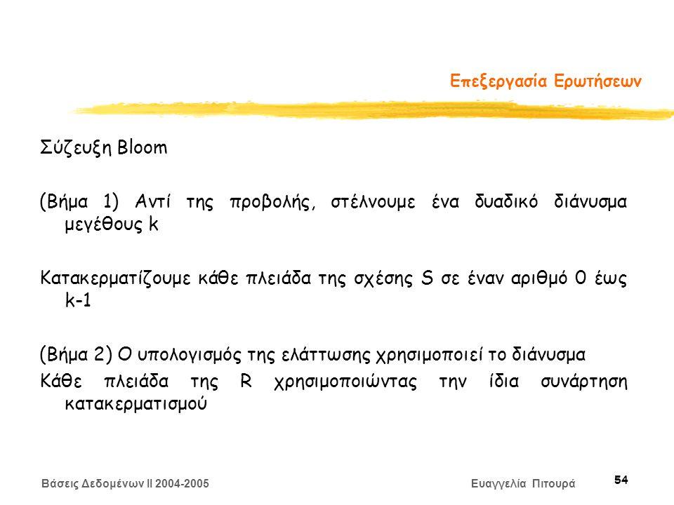 Βάσεις Δεδομένων II 2004-2005 Ευαγγελία Πιτουρά 54 Επεξεργασία Ερωτήσεων Σύζευξη Bloom (Βήμα 1) Αντί της προβολής, στέλνουμε ένα δυαδικό διάνυσμα μεγέθους k Κατακερματίζουμε κάθε πλειάδα της σχέσης S σε έναν αριθμό 0 έως k-1 (Βήμα 2) O υπολογισμός της ελάττωσης χρησιμοποιεί το διάνυσμα Κάθε πλειάδα της R χρησιμοποιώντας την ίδια συνάρτηση κατακερματισμού