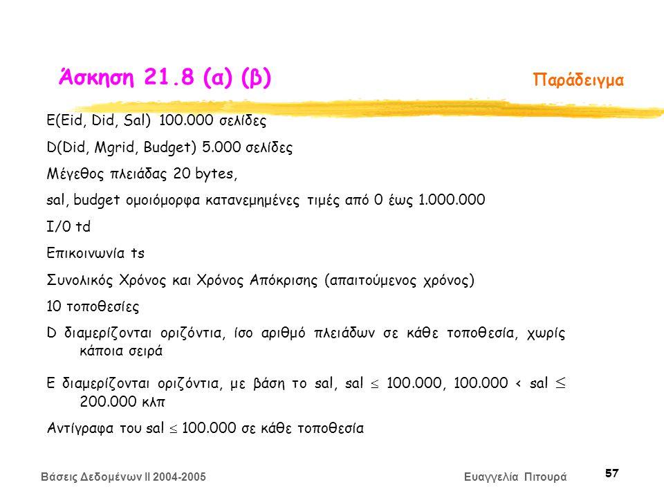 Βάσεις Δεδομένων II 2004-2005 Ευαγγελία Πιτουρά 57 Παράδειγμα Ε(Eid, Did, Sal) 100.000 σελίδες D(Did, Mgrid, Budget) 5.000 σελίδες Μέγεθος πλειάδας 20 bytes, sal, budget ομοιόμορφα κατανεμημένες τιμές από 0 έως 1.000.000 Ι/0 td Επικοινωνία ts Συνολικός Χρόνος και Χρόνος Απόκρισης (απαιτούμενος χρόνος) 10 τοποθεσίες D διαμερίζονται οριζόντια, ίσο αριθμό πλειάδων σε κάθε τοποθεσία, χωρίς κάποια σειρά Ε διαμερίζονται οριζόντια, με βάση το sal, sal  100.000, 100.000 < sal  200.000 κλπ Αντίγραφα του sal  100.000 σε κάθε τοποθεσία Άσκηση 21.8 (α) (β)