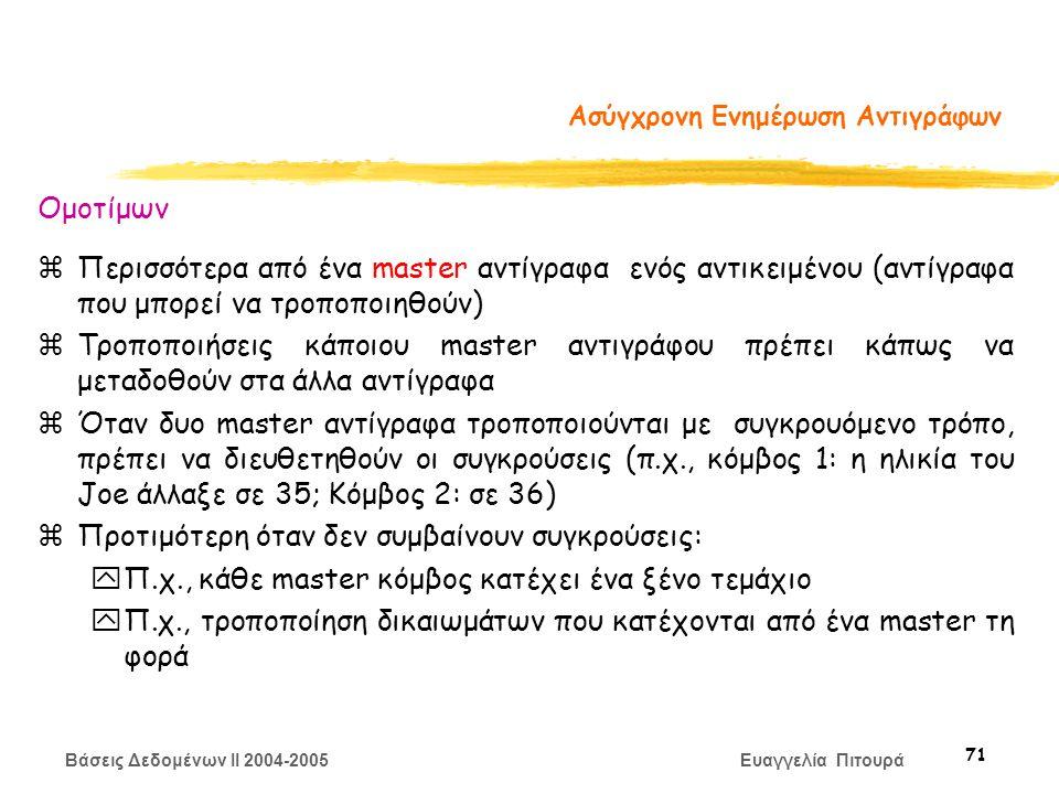 Βάσεις Δεδομένων II 2004-2005 Ευαγγελία Πιτουρά 71 Ασύγχρονη Ενημέρωση Αντιγράφων Ομοτίμων zΠερισσότερα από ένα master αντίγραφα ενός αντικειμένου (αντίγραφα που μπορεί να τροποποιηθούν) zΤροποποιήσεις κάποιου master αντιγράφου πρέπει κάπως να μεταδοθούν στα άλλα αντίγραφα zΌταν δυο master αντίγραφα τροποποιούνται με συγκρουόμενο τρόπο, πρέπει να διευθετηθούν οι συγκρούσεις (π.χ., κόμβος 1: η ηλικία του Joe άλλαξε σε 35; Κόμβος 2: σε 36) zΠροτιμότερη όταν δεν συμβαίνουν συγκρούσεις: yΠ.χ., κάθε master κόμβος κατέχει ένα ξένο τεμάχιο yΠ.χ., τροποποίηση δικαιωμάτων που κατέχονται από ένα master τη φορά